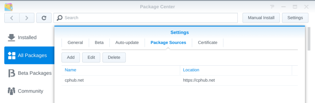 """The DSM Package Center settings window with """"cphub.net"""" added as package source"""